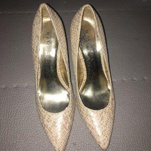 Size 9.5 Cream snakeskin pump heels